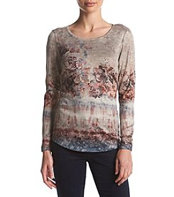 Oneworld Rounded Hem Print Top