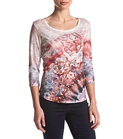 Oneworld Printed Scoop Neck Top