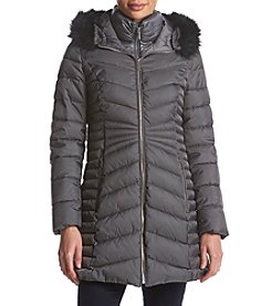 Laundry Puffer Faux Fur Trim Coat