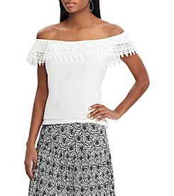 Chaps Off The Shoulder Lace Trim Ruffle Top