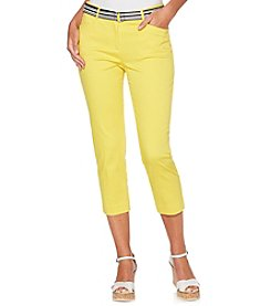 Rafaella Solid Color Attached Belt Cropped Pants