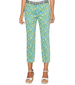 Rafaella Lemon Pattern Attached Belt Cropped Pants