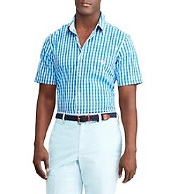 Chaps Men's Big & Tall Short Sleeve Easy Care Checked Woven Button Down