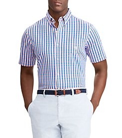 Chaps Men's Easy Care Short Sleeve Gingham Button Down