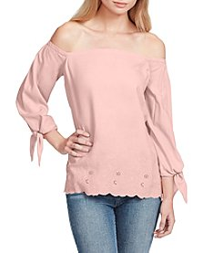 Jessica Simpson Floral Embroidery Off The Shoulder Top