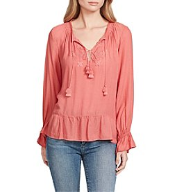 Jessica Simpson Embroidered Peasant Top With Tassels