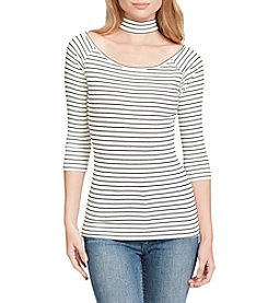 Jessica Simpson Horizontal Striped Pattern Choker Neckline Top
