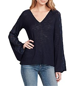 Jessica Simpson V-Neck Lace Inset Detail Bell Sleeve Top