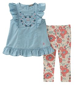Calvin Klein Girls' 2T-4T 2 Piece Chambray Top And Floral Leggings
