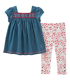 Calvin Klein Girls' 2T-4T Denim Heart Top And Heart Leggings