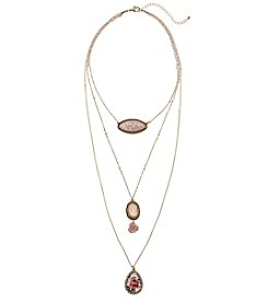 Erica Lyons Pink Goldtone Long Three Layer Necklace