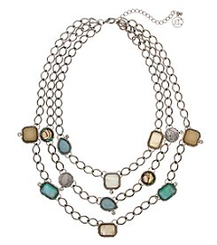Erica Lyons Multi Silvertone Short Chains Necklace