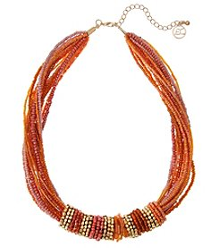 Erica Lyons Coral Goldtone Short Collar Necklace