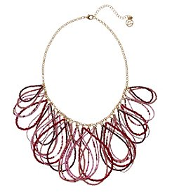 Erica Lyons Pink Red Goldtone Short Loops Necklace