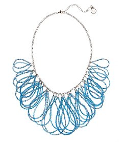 Erica Lyons Blue Silvertone Short Loops Necklace