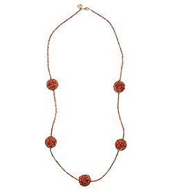 Erica Lyons Coral Goldtone Long Balls Necklace