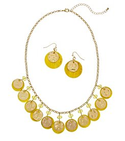 Erica Lyons Yellow Goldtone Shaky Necklace And Earrings Set