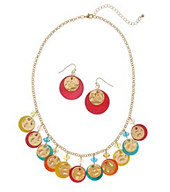 Erica Lyons Multi Goldtone Shaky Necklace And Earrings Set