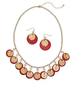 Erica Lyons Pink Goldtone Shaky Necklace And Earrings Set