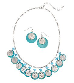 Erica Lyons Blue Silvertone Shaky Necklace And Earrings Set