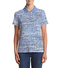 Studio Works Striped Pattern Polo Top