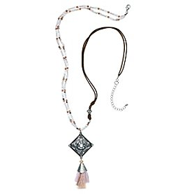 Ruff Hewn Pink Silvertone Bead Cord Pendant Necklace
