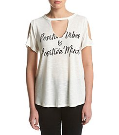 Jessica Simpson Positive Vibes Cutout Top