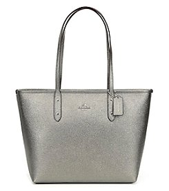 COACH CITY ZIP METALLIC LEATHER TOTE