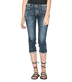 Silver Jeans Co. Elyse Distressed Detail Skinny Cropped Jeans