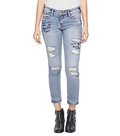 Silver Jeans Co. Elyse Writing Embroidery Distressed Detail Skinny Cropped Jeans
