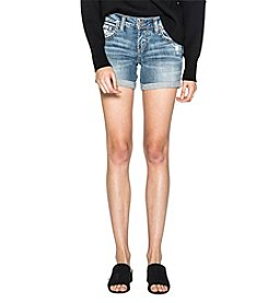 Silver Jeans Co. Boyfriend Rolled Cuff Distressed Detail Denim Shorts