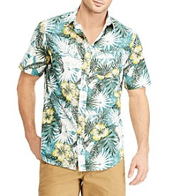 Chaps Men's Big & Tall Tropical Print Woven Button Down