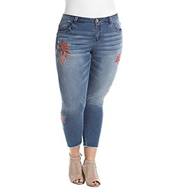Democracy Plus Size Skinny Leg Cropped Floral Embroidery Detail Jeans