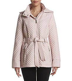 MICHAEL Michael Kors Quilted Design Tie Belt Jacket