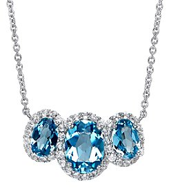 Sterling Silver Swiss Blue and White Topaz Necklace