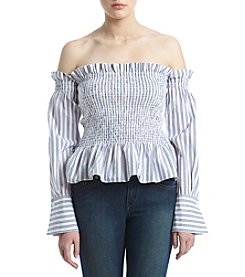 Hippie Laundry Striped Pattern Off The Shoulder Smocked Top