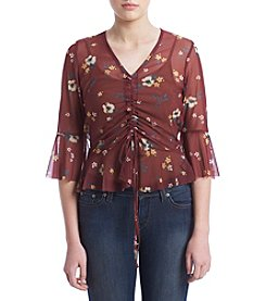 Hippie Laundry Floral Pattern Mesh Drawstring Top