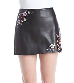 Hippie Laundry Floral Embroidery Detail Faux Leather Skirt