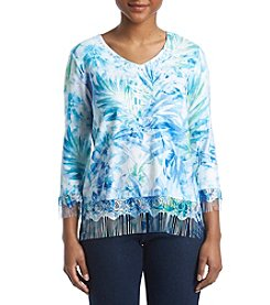 Alfred Dunner Petites' Tropical Leaves Lace Fringe Sweater
