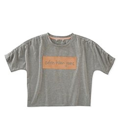 Calvin Klein Girls' 7-16 Cropped Ruched Sleeve Tee