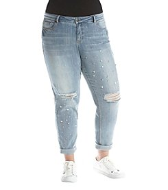 Ruff Hewn GREY Plus Size Boyfriend Jeans With Pearls