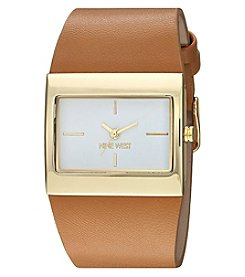 Nine West Women's Goldtone And Camel Leather Watch