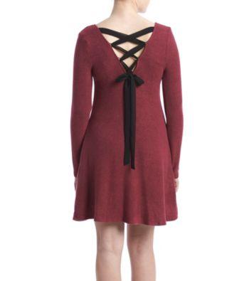 2194210e97f0b2 A. Byer Fuzzy Lace Up Back Swing Dress