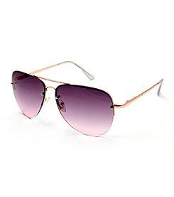 6c6ca552c9945 Steve Madden Bold Flat Lens Aviator Sunglasses