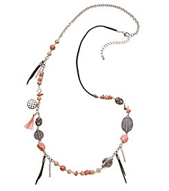 Ruff Hewn Silvertone Pink Bead Metal Necklace