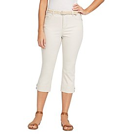 Bandolino Plus Size Skinny Cropped Attached Belt Pants