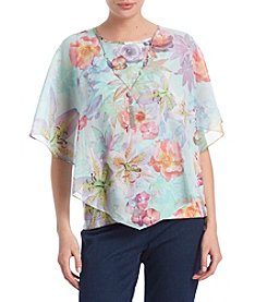 Alfred Dunner Botanical Overlay Top