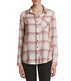 Hippie Laundry Plaid Pattern Bleach Splatter Button Down Top