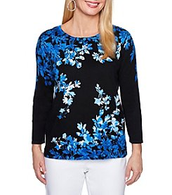 Alfred Dunner Petites' Asymmetric Floral Sweater