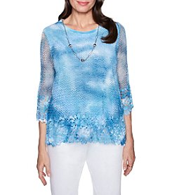Alfred Dunner Petites' Lace Design Hem And Cuff Necklace Detail Top